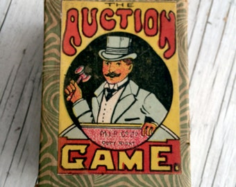 The Auction Game, antique card game. The set includes many cards that could be used for art, card making or just to collect. Circa 1900s.