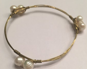 Gold Wire Wrapped Pearl Bangle Wire Wrap Bracelet - Bourbon and Boweties Inspired Bangle