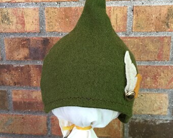 6-12+ Month Green Peter Pan Hat with Button and Two Felt Feathers (DkG-Fe.1) Made from REPURPOSED MATERIAL