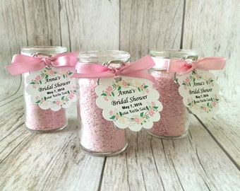 10 rose pink bath salt favors in glass bottles with personalized tags, bridal shower, baby shower, wedding favors.