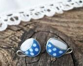 Tiny Studs Blue tea cups stud earrings polka dots Mug of tea