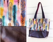 Painted Feathers Tote Bag Upcycled Denim and Leather Purse Handmade Unique