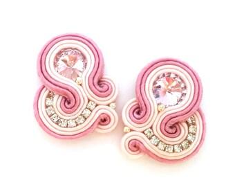 Bridal earrings - soutache earrings - clip on earrings - bridesmaids earrings - birthday gift for wife - bridesmaids gift wholesale jewelry