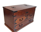 Traditional Japanese Wooden Chest with Drawers. Mini Tansu. Kiri Wood Jewelry Box with drawers and trays. Vintage Accessories Box.