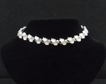 KRAMER White Thermoset and Aurora Borealis Necklace