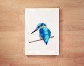 Originele geometrische vogels en dieren van tinykiwiprints for Minimal art kunst