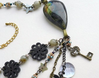 Multi-strand Assemblage Statement Necklace with Victorian penny and labradorite. Steampunk necklace, unique piece