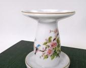 Takahashi - White Porcelain Toothbrush Holder - Blue Bird - Pink Dogwood - Vintage Bathroom Storage - Paintbrush Holder