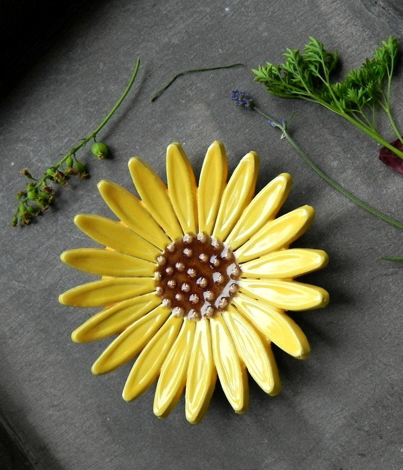 Sunflower Ceramic Dish Pottery Jewelry Plate Summer Home