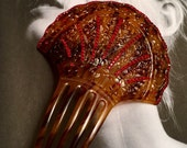 Red Celluloid Mantilla Hair Comb 1920's Spanish Large