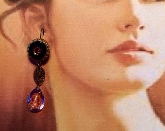 Art Deco Earrings 1930's Vintage  Bridal Amethyst Purple Czech Czechoslovakia