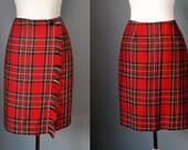Plaid Wrap Skirt / Vtg 90s / Rafaella fringed red plaid wrap skirt / blanket wrap skirt / pencil skirt / kilt