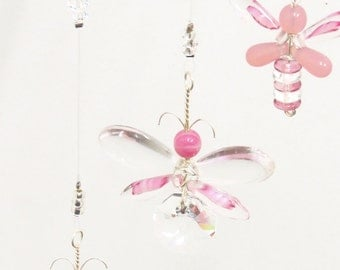 Pink Butterfly Mobile Swarovski Crystal Suncatcher Girl Mobile Children Mobile Butterfly Ornament Home Decor Fairy Mobile Glass Baby Mobile