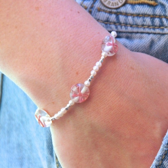 Breast Cancer Awareness Jewelry - Glass Bead Bracelet - Simple Beaded Bracelet - Stacking Bracelet - Feminine Bracelet - Dainty Bracelet