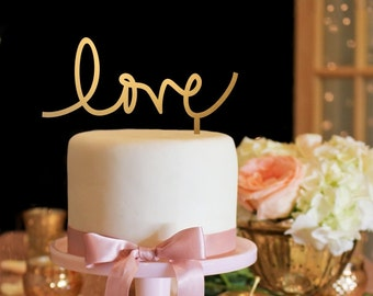 Love Cake Topper - Wedding Cake Topper - Gold Cake Topper