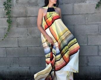 Rainbow Plaid Print Adjustable One-size Maxi Dress w/ Denim Detail - repurposed materials