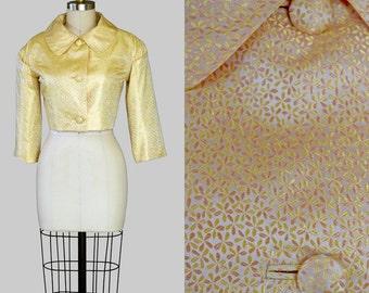 Vintage 60s Jacket Gold Silk Metallic Brocade Bolero Bridal
