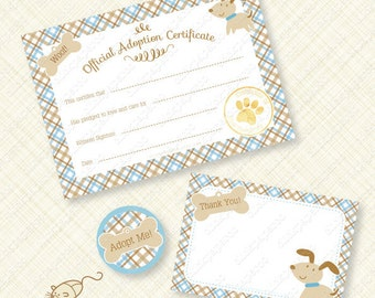 Blue Puppy Adoption Certificate Printable Kit for Birthday Party Paw pawty favor favors plaid woof bone instant download pdf digital