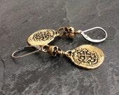 Skull dangle earrings - 'Treasure' boho bronze coin, everyday lightweight jewellery by mollymoojewels