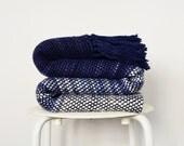 Wool Sofa Blanket, Blue throw merino wool, Wool knit throw, Ocean Handwoven wrap