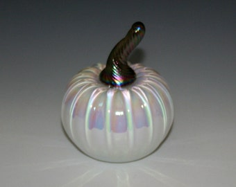 Hand Blown Glass Pumpkin - Mother of Pearl White with Brown/Gold Stem