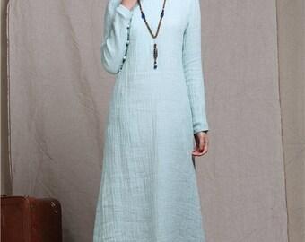 maxi bridesmaid dress in mint blue, long linen dress, maxi dress, maxi tunic dress, wedding dress, formal dress evening dress, linen kaftan