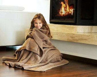 Cable knit blanket -  hand knitted beige (light cacao) blanket for bed and coach - warm blanket for winter 55x72 inch 0307