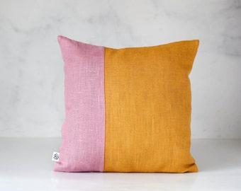 Mustard throw pillow in color block design - mustard with dusty pink line - modern pillow - decorative linen pillow - pillow cover  - 0402