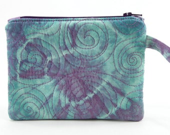 Quilted Wristlet Zipper Pouch - Aqua Green and Purple Tie Dyed Cotton Zippered Purse or Phone Pouch, Cellphone Wristlet, Coin Purse