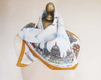 Souvenir scarf, vintage 1970s scarf, LONDON scarf, exclusive design, made in Italy, travel scarf, ladies square scarf
