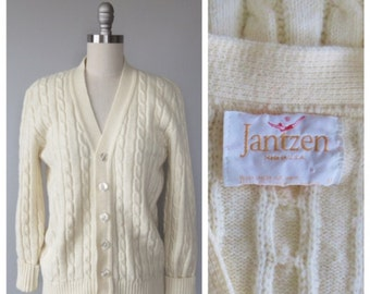 70s Jantzen wool cable knit sweater size medium / vintage Jantzen sweater