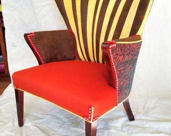 Vintage Midcentury Wingback Chair done funky  *SOLD*