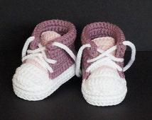 Crochet Baby Shoes,Crochet Baby Booties,Crochet Baby Tennis Shoes,Pink Baby Shoes,Baby Girl Shoes,Baby Girl Booties,Baby Tennis Shoes, Pink