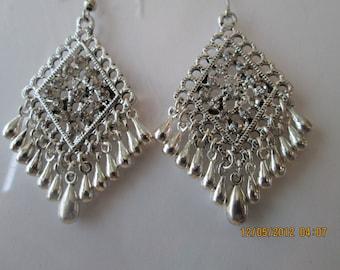 Silver Tone Chandelier Earrings with Silver Tone Teardrop Dangles and Clear Rhinestones
