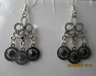 SALE Silver Tone Chandelier Earrings with Silver and Black Charms Dangles