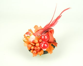 Fascinator Headpiece Cocktail Hat Feathered Bird and Silk Flowers Woodland in Red and Orange Summer and Spring Party Hair Accessory