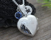 Solid sterling silver Heart locket necklace, Silver Locket necklace - lockets, Choose Monogram Initial and/or Birthstonte charms.  23b