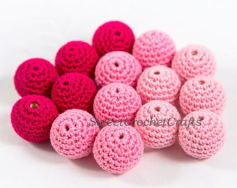 "Crochet beads 5 PCS 3/4"" 20 mm Pink tones Wooden crochet cotton beads Crocheted bead Round beads Necklaces"