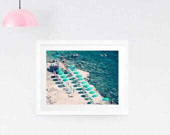 Aerial Beach Print, Blue wall decor, Beach photography, Amalfi Coast Print, Large Wall Print, Green wall decor, Gift for her, Ocean print