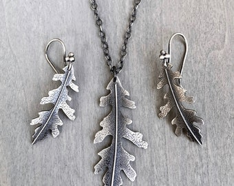 Oak Leaf Earrings and Necklace Set Sterling Silver - Silver Oak Leaf Earrings and Necklace Set- Gift for her - gift set