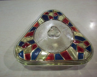 ATOMIC 60's TRIANGLE Casserole Inland Glass Stained Glass w/ Lid