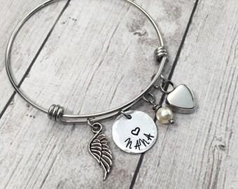 Memorial Bracelet - Cremation Urn Jewelry - Remembrance Jewelry - Memorial Jewelry - Personalized Bracelet - Adjustable Wire Bangle Bracelet