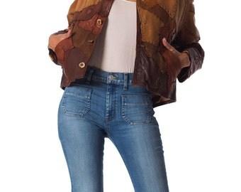 Vintage 1960s Artisanal Patchwork Soft Leather Jacket  Size: XS/S