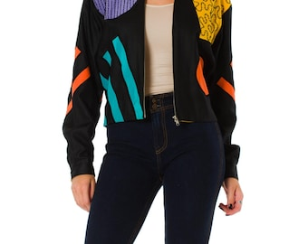 1980s Memphis Style Post Modern Abstract Black Jacket
