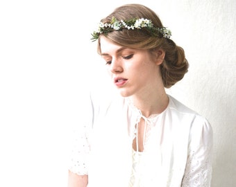White Wedding Headpiece, Floral Hair Wreath, Bridal hair accessories, Vine Crown, Hair Crown, Bridal Crown, Flower Crown - FRONDESCENCE