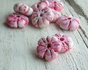 Sakura- rustic spring cherry blossom. pink polymer clay flower beads. dark pink. pale pink flower. rustic pink flower beads. Jettabugjewelry