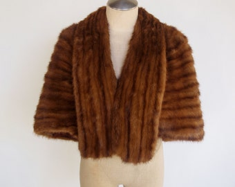 50s brown mink stole wrap with shawl collar and satin lining
