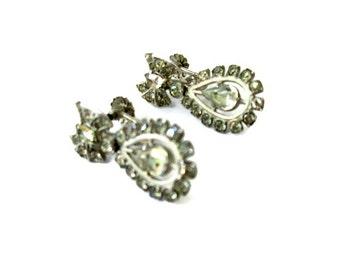 SALE Art Deco Earrings, Sterling Silver Rhinestone Bow, Bride Wedding, Vintage Dangle Screw Back