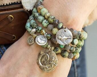 Artisan Bracelet, Turquoise Bracelet, Silver Bracelet, Beaded Bracelet, Charm Bracelet, Lotus Bracelet, Stretch Bracelet, Boho Bracelet