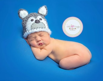 Wolf Hat Newborn Hat, big bad wolf newborn baby boy, newborn baby girl - Gray, black and white - Photo prop, Made to Order